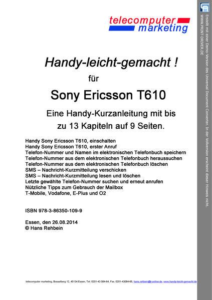 Sony Ericsson T610-leicht-gemacht - Coverbild