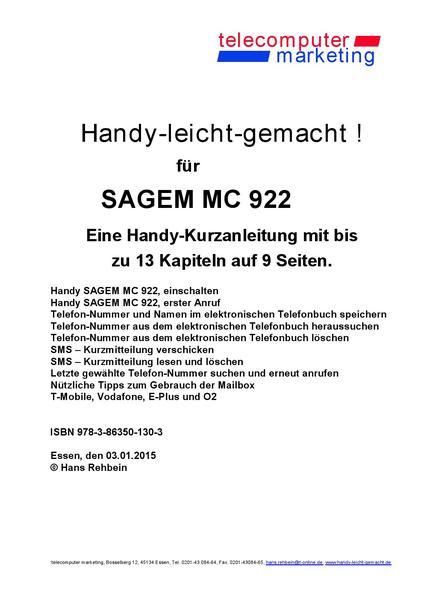 Sagem MC 922-leicht-gemacht - Coverbild