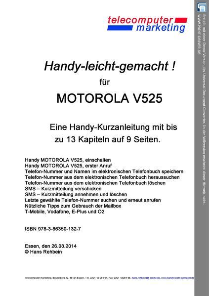Motorola V525-leicht-gemacht - Coverbild
