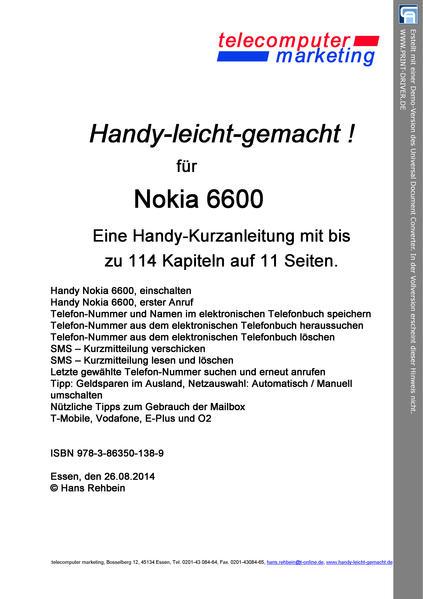 Nokia 6600-leicht-gemacht - Coverbild