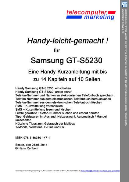 Samsung GT-S5230-leicht-gemacht - Coverbild