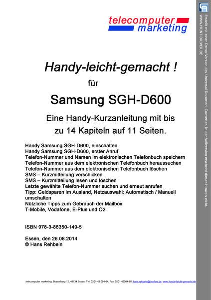 Samsung SGH-D600-leicht-gemacht - Coverbild