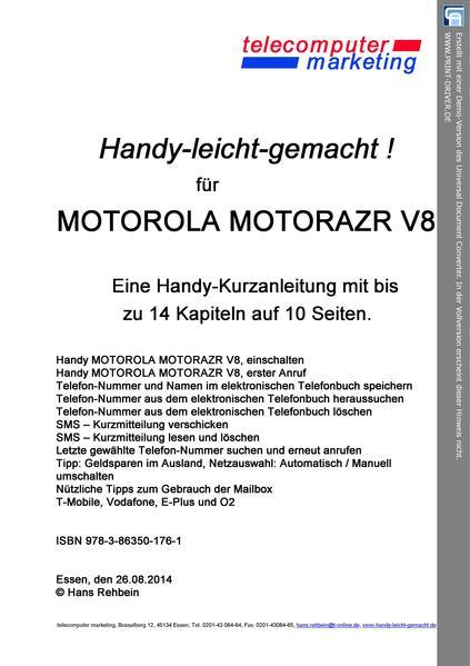 Motorola MOTORAZR V8-leicht-gemacht - Coverbild