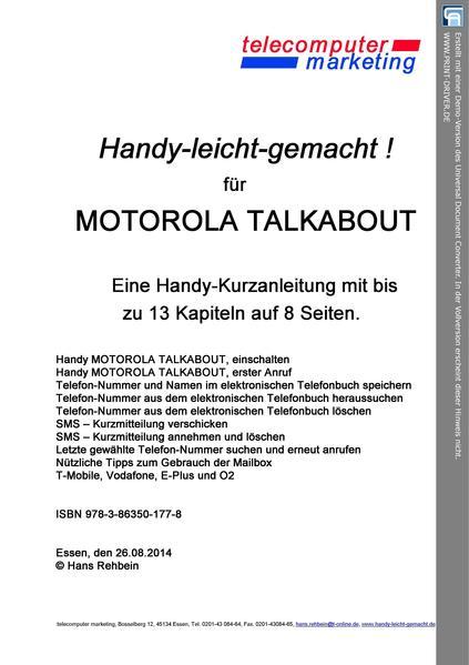Motorola Talkabout-leicht-gemacht - Coverbild