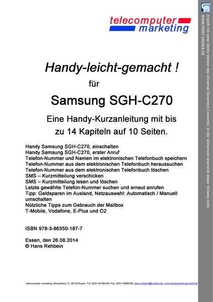 Samsung SGH-C270-leicht-gemacht - Coverbild