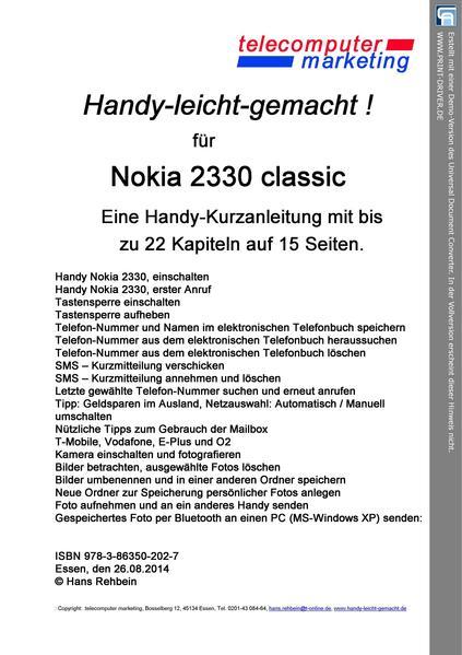 Nokia 2330 classic-leicht-gemacht - Coverbild