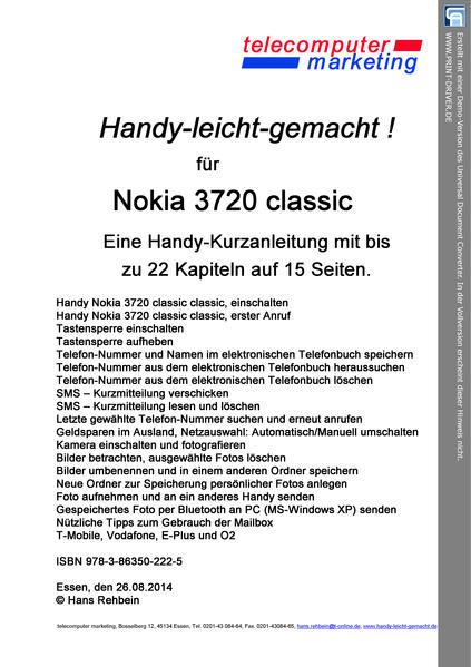 Nokia 3720 classic-leicht-gemacht - Coverbild