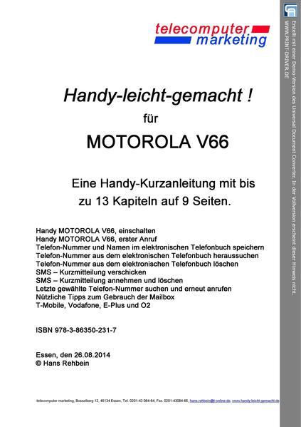 Motorola V66-leicht-gemacht - Coverbild