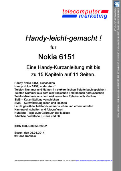 Nokia 6151-leicht-gemacht - Coverbild