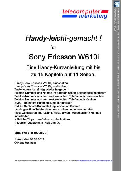 Sony Ericsson W610i-leicht-gemacht - Coverbild