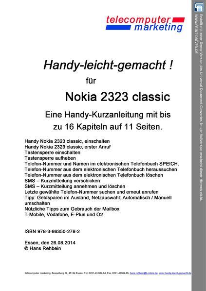 NOKIA 2323 classic leicht-gemacht - Coverbild