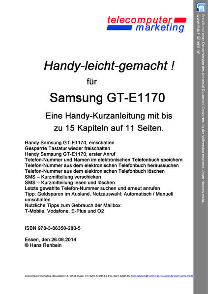 SAMSUNG GT-E1170 leicht-gemacht - Coverbild
