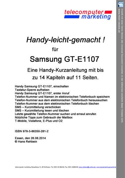 SAMSUNG GT-E1107 leicht-gemacht - Coverbild