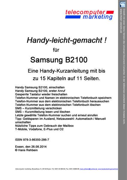 SAMSUNG B2100 leicht-gemacht - Coverbild