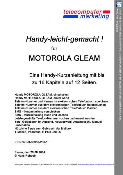 MOTOROLA GLEAM leicht-gemacht - Coverbild