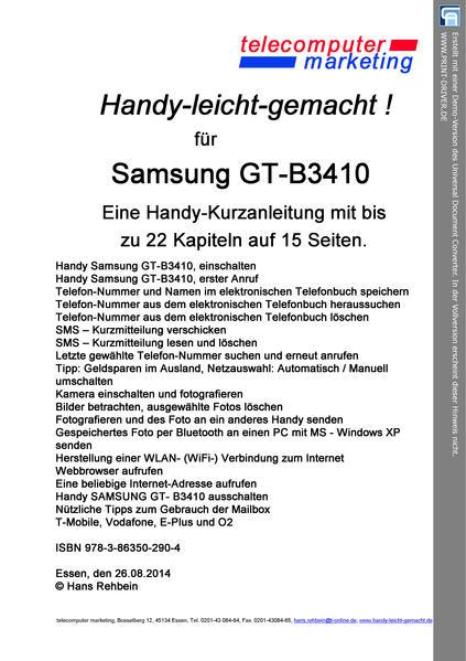 SAMSUNG GT-B3410 leicht-gemacht - Coverbild