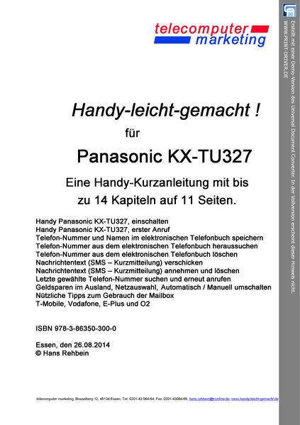 Panasonic KX-TU327 leicht-gemacht - Coverbild