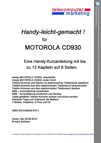 Motorola cd930-leicht-gemacht - Coverbild