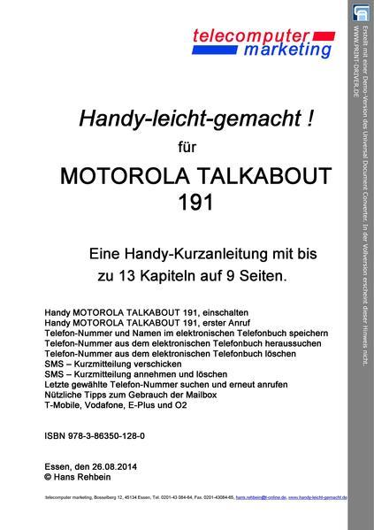 Motorola Talkabout 191-leicht-gemacht - Coverbild