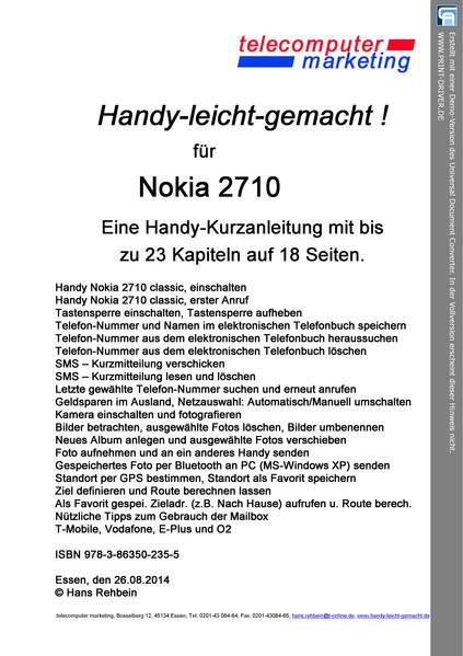 Nokia 2710-leicht-gemacht - Coverbild