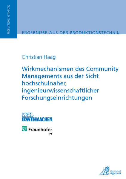 Wirkmechanismen des Community Managements aus der Sicht hochschulnaher, ingenieurwissenschaftlicher Forschungseinrichtungen - Coverbild