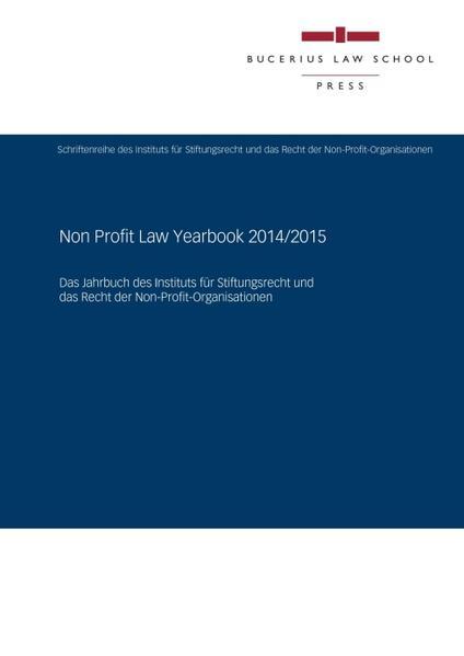 Non Profit Law Yearbook 2014/2015 - Coverbild
