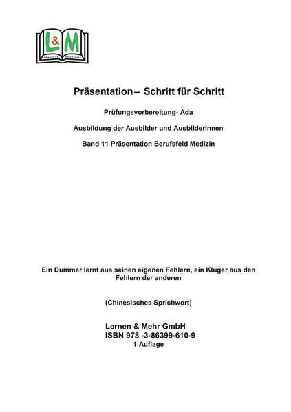 Präsentation  - Schritt für Schritt, Band 11, Berufsbereich Medizin, AEVO - Coverbild