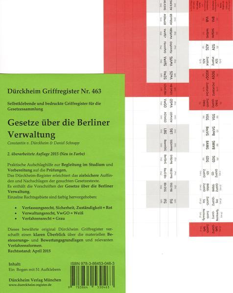 Dürckheim-Griffregister Nr. 463: Gesetze über die Berliner Verwaltung - Coverbild
