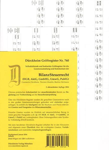 BILANZSTEUERRECHT, Griffregister Nr. 760 für das Steuerberaterexamen (2016) - Coverbild