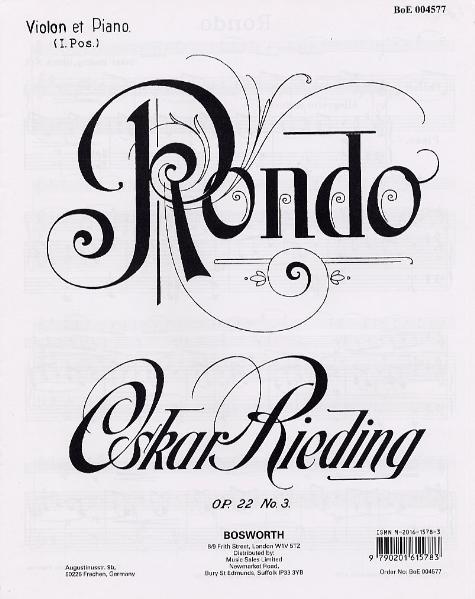 Rondo Opus 22 No. 3 für Violine und Klavier - Coverbild