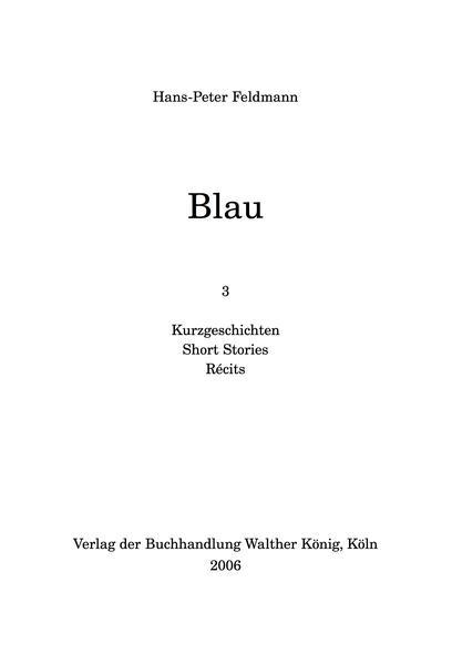 Hans-Peter Feldmann - Blau - Coverbild