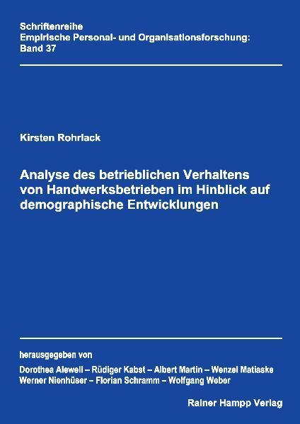 Analyse des betrieblichen Verhaltens von Handwerksbetrieben im Hinblick auf demographische Entwicklungen - Coverbild