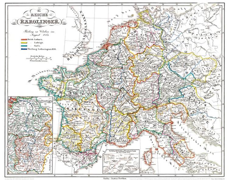 Historische Karte: EUROPA - Die REICHE  der KAROLINGER, um 850 (Plano) - Coverbild