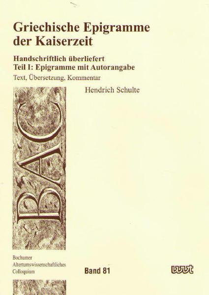 Griechische Epigramme der Kaiserzeit - Coverbild