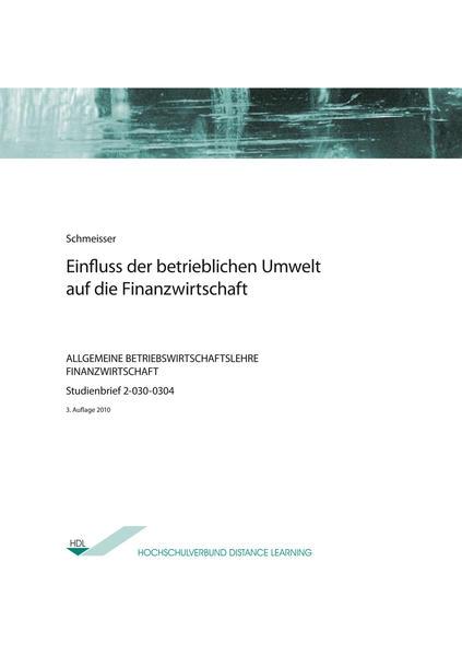 Einfluss der betrieblichen Umwelt auf die Finanzwirtschaft - Coverbild