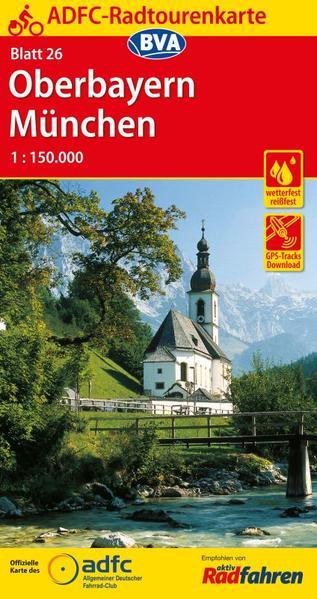 ADFC-Radtourenkarte 26 Oberbayern München 1:150.000, reiß- und wetterfest, GPS-Tracks Download - Coverbild