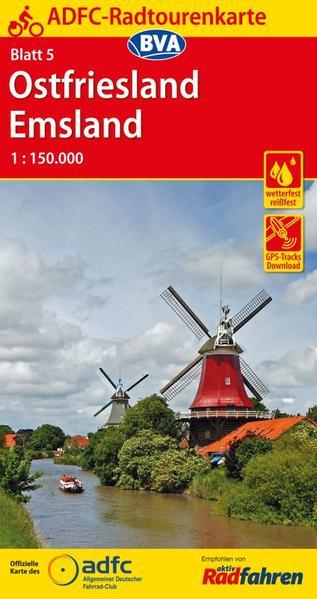 ADFC-Radtourenkarte 5 Ostfriesland / Emsland 1:150.000, reiß- und wetterfest, GPS-Tracks Download und Online-Begleitheft - Coverbild