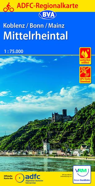 ADFC-Regionalkarte Koblenz/Bonn/Mainz Mittelrheintal 1:75.000, reiß- und wetterfest, mit GPS-Tracks-Download - Coverbild