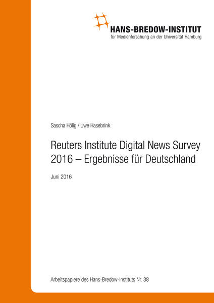 Reuters Institute Digital News Survey 2016 – Ergebnisse für Deutschland - Coverbild