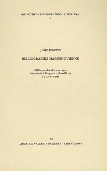 Bibliographie Haguenovienne du XVIe siècle - Coverbild