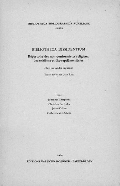 Bibliotheca Dissidentium I - Coverbild