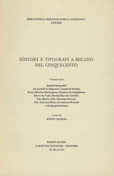 Editori e tipografi a Milano nel Cinquecento - Coverbild