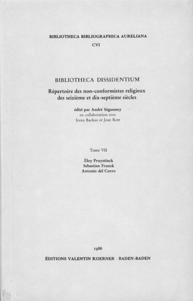 Bibliotheca Dissidentium VII - Coverbild