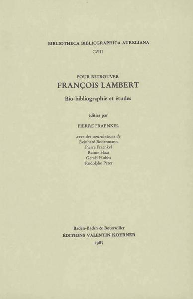 Pour retrouver François Lambert - Coverbild