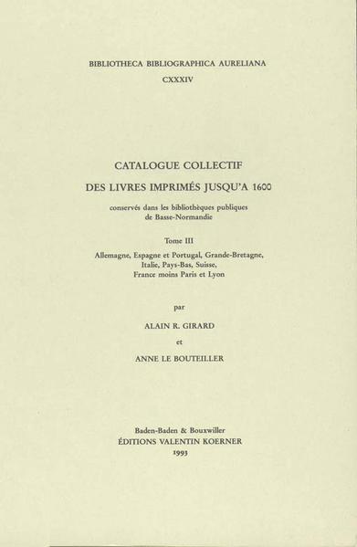 Catalogue collectif des livres imprimés - Coverbild