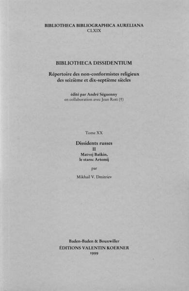 Bibliotheca Dissidentium XIX & XX - Coverbild