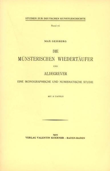 Die Münsterischen Wiedertäufer und Aldegrever - Coverbild