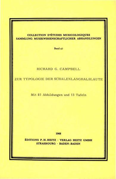 Zur Typologie der Schalenlanghalslaute - Coverbild