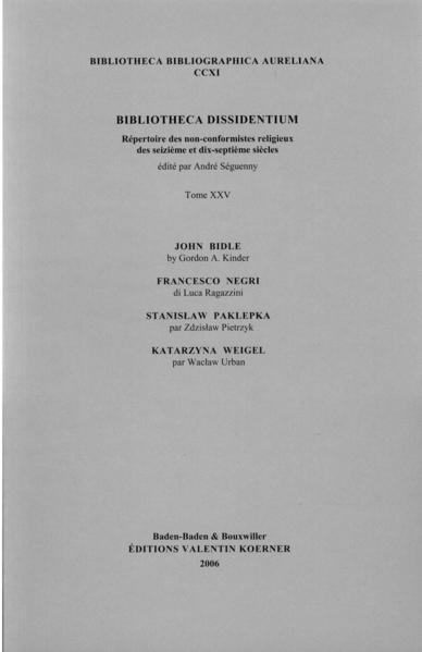 Bibliotheca Dissidentium XXV - Coverbild