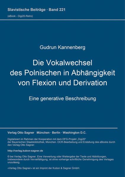 Die Vokalwechsel des Polnischen in Abhängigkeit von Flexion und Derivation - Coverbild